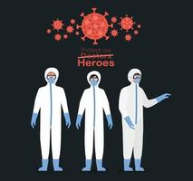 Doctors heroes with protective suits masks and glasses vector