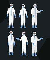 médicos con trajes de protección, gafas y máscaras. vector