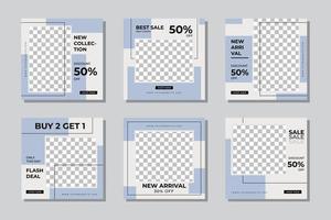 Fashion sale social media post template vector