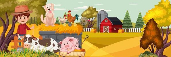 Man with farm animal in nature vector