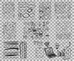 conjunto de objetos y símbolos doodle dibujados a mano vector
