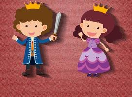 Little knight and princess cartoon character on red background