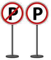 Parking and no parking signs with stand vector