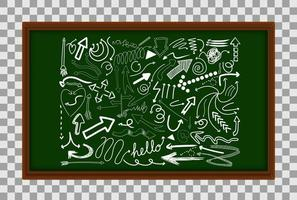 Different doodle strokes on green board vector