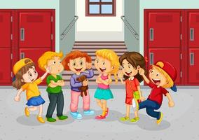 Happy children at school hallway vector