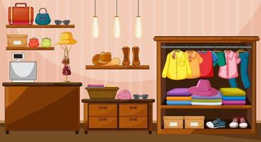 Clothes hanging in wardrobe with many accessories