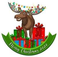 Merry Christmas 2020 font banner with cute reindeer
