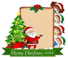 Blank wooden board with Santa and masked children vector