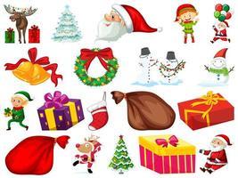 Conjunto de objetos navideños aislado sobre fondo blanco.
