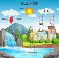 diagrama que muestra el camino de la lluvia ácida