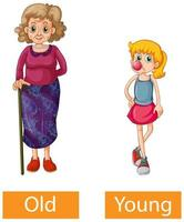 Opposite adjectives words with old and young vector