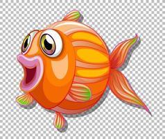 Cute fish with big eyes cartoon character