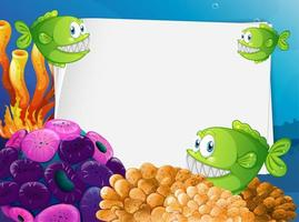 Blank paper with exotic fish and undersea nature elements vector