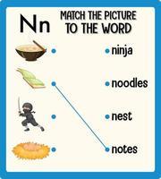 Haga coincidir la imagen con la hoja de trabajo de palabras para niños.