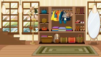 Clothes and accessories in opened wardrobe vector