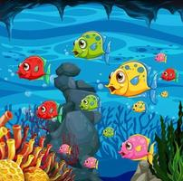 Many exotic fishes cartoon characters vector