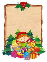 tablero de madera en blanco con regalo elfo