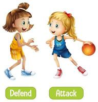 Opposite words with defend and attack