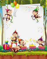 Blank banner with many monkeys in party theme vector