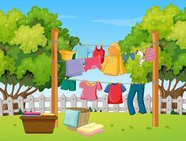 ropa tendida en el patio vector