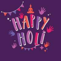 Happy Holi vector sign with colorful hands and flags.