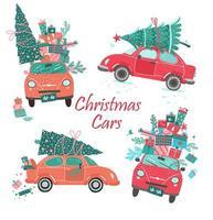 vector de coches de navidad con árbol y regalos