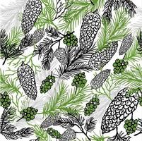 Christmas seamless pattern with christmas cones and plants vector
