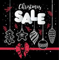 Christmas sale design with hand drawn ornaments vector