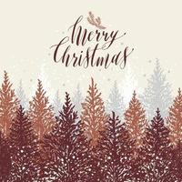 Hand drawn christmas card. New year trees with snow