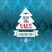 Christmass tree sale label on blue vector