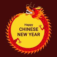 marco de círculo dragón chino vector