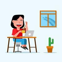 Young Girl Professional Works At Home And Enjoys Coffee vector