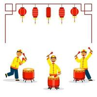 Drumming Three Boys For Chinese Lion Dance vector