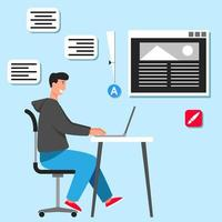 Graphic Designer At Desk vector