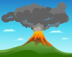 paisaje de erupción volcánica vector