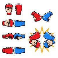 Martial Arts Half Finger Gloves Cartoon Collection vector