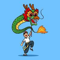 Cheerful Boy Playing Chinese Dragon Dance