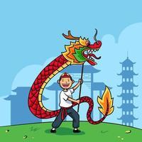 niño dibujado a mano tocando la danza del dragón chino vector