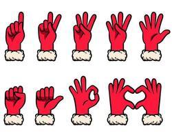 conjunto de gestos de conteo de guantes de nieve