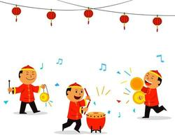 Chinese Kids Playing Music For Dragon Dance vector