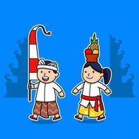Cartoon Comic Character Of Bali Kids vector