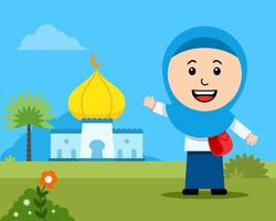 Cheerful Girl Moslem Student In Front Of Mosque vector