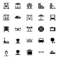 Amusement Park Glyph Icons vector