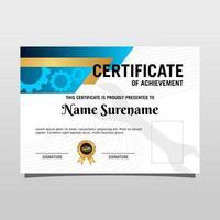 Machine engineering certificate. Certificate for mechanical expert. vector