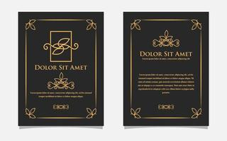 Vintage gold greeting card design with a black background. Luxury gold ornament template. For invitation, menu, wallpaper, brochure, decoration. vector