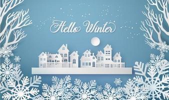 invierno nieve paisaje urbano paisaje ciudad pueblo vector