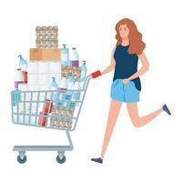 mujer con carrito de compras lleno de comestibles vector
