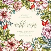 Wild roses floral frame vector