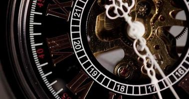 Extreme close up of pocket watch with exposed machinery coming for a minute in 4K video