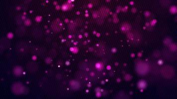 luces suaves de color púrpura que flotan lentamente sobre un fondo oscuro y un patrón de líneas en el frente